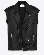 $3990 NWT YSL YVES SAINT LAURENT MEN SLEEVELESS MOTOCYCLE LEATHER JACKET VEST 54
