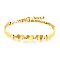 18K Goldkette Armband Armreif Armreifen Armkette Damen Schmetterlinge vergoldet
