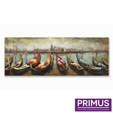 Primus Row of Gondolas 3D Hand Crafted Metal Wall Art Retro Hand Painted