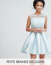 Petite Lace Detail High Low Skater Dress With Button Back Ice Blue Uk 10 RRP £65