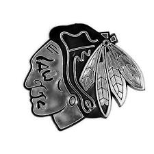 Chicago Blackhawks Silver Chrome Colored Raised Auto Emblem Decal NHL Hockey