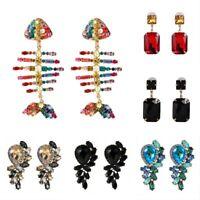 Women Earrings Ear Jewelry Tassel Dangle Drop Stud Rhinestone Crystal Elegant