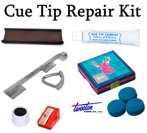 Snooker / Pool Cue Tip Repair Kit & Metal Tip Clamp / Elk Master Tips 8 - 14mm