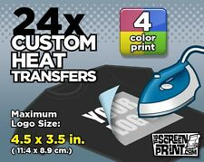24 Custom Plastisol Heat Transfers Iron-On (4 color) MAX Logo Size 4.5 x 3.5 in.