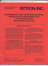 Ritron Maintenance Amp Operating Manual Repeater Plus Rr 454 Uhf Repeater