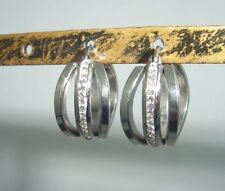 shiny stainless steel hoop earrings with cz crystals 1519