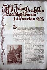 Gedenkblatt Breslau Schlesien, Beamtenverein um 1930