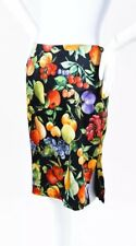 DOLCE & GABBANA 1990s Vintage Black Multicolor Fruit Silk Pencil Skirt US 4