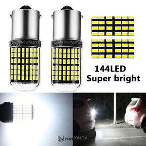 2pc WHite 144  BA15S Car Light Bulbs 12V-24V 7440 LED Lamp Turn Signal 144SMD