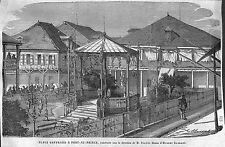 HAITI PORT-AU-PRINCE PLACE GEFFRARD DESSIN HUBERT CLERGET GRAVURE IMAGE 1866
