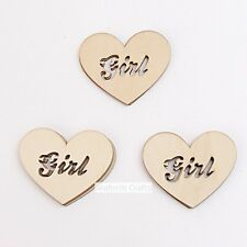 12 Girl Heart Mdf Type Wooden Shapes Craft Embellishments Decoration 65mm x 60mm