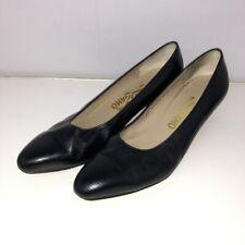 Salvatore Ferragamo 7.5 7 1/2 AA Heels Shoes Black Block Kitten Heel Classic