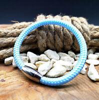 Segeltau Armband Hellblau -Surfer Style- Magnetverschluß Damen Frauen Kinder