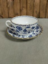 "Spode Colonel Blue 2-1/8"" Flat Cup and Saucer, Gold Trim"