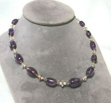 """14K Gold Necklace w Crystal / Amethyst / Pearl 30.9 grams 17"""""""