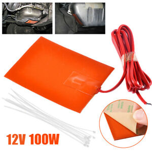 12V 100W Silicone Heater Heating Pad Engine Block Hydraulic Tank Oil Pan Plate