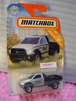 2019 Matchbox #24 RAM FLATBED truck☆silver/black;yellow/blue☆COLE CONSTRUCTION 1