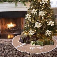 Chic Rustic Fabric Burlap Christmas Tree Skirt Stands Xmas Ornament 80cm