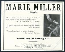 1927 Marie Miller photo harp recital tour booking vintage trade print ad