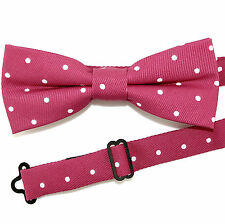 Pink Polka Dot Mens Bow Tie Pre Tied Dress Casual Fashion w/Manufacturers Flaw