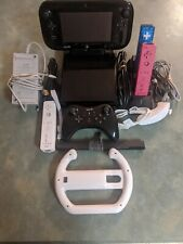 Nintendo Wii U Black 32gb Console W/Gamepad, cables, & Controllers.