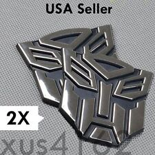 2 x 3D Chrome Autobot 2 Inch Transformers Emblem Badge Decal Car Stickers Truck