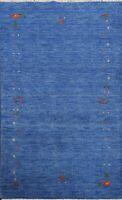Modern Gabbeh Geometric Oriental Area Rug Hand-knotted Tribal Wool Carpet 4'x6'