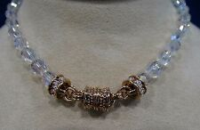 KIRKS FOLLY CLEAR CRYSTAL BEAD MAGNETIC NECKLACE GOLDTONE
