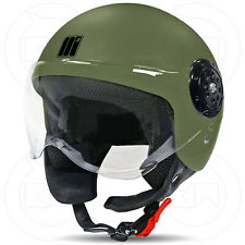 MOTOCUBO CASCO JET MOTO SCOOTER UOMO / DONNA OMOLOGATO ECER-22-05 VERDE OPACO