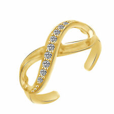 Round Cut D/VVS1 Infinity Toe Ring Adjustable 10k Yellow Gold