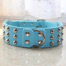 Large Breed Leather Spiked Studs Pet Dog Collar Pitbull Bully Rottweiler M L XL