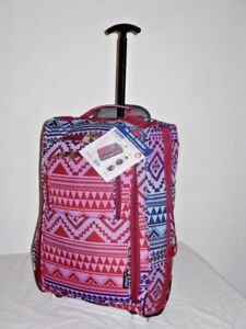 Super Lightweight Hand Luggage Cabin Friendly Trolley Bag In multi aztec print