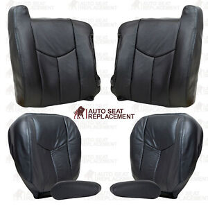 2003 2004 2005 2006 2007 Chevy Silverado & Sierra Leather Seat Covers Dark Gray