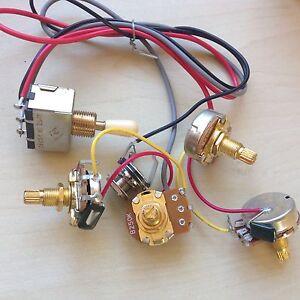 Gibson/Epi Wiring Harness Full Size Gold Pots 2T2V 250K 18mm Shaft, Jack LP SG