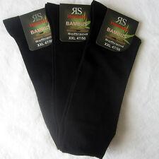 3 Pairs oversize XXL Bamboo Socks Soft rim without elastic black 47 48 49 50