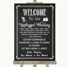 Wedding Sign Poster Print Chalk Sketch No Phone Camera Unplugged