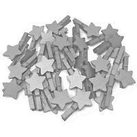 Mini 30mm Silver Pegs with Matching 18mm Silver Stars Craft Embelishment