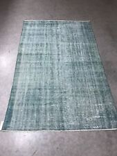 Antique Green Overdyed Turkish Carpet,Floor Bohemian Vintage Rug,Handwoven Rug