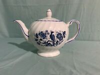 Blue Peacock and Flower design Teapot from Ellgreave China of England.