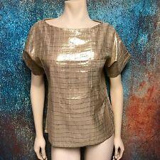 Chanson D' Amour Women's Top, Gold Lamé Lightweight Short Sleeve Pullover Size S