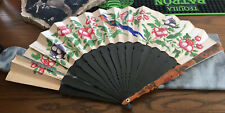 Vintage Hand Held Fan Wood Paper Japanese~painted Bird Detailed *See Photos
