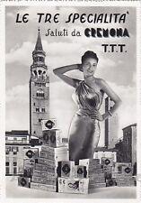CREMONA CITTÀ 55 LE TRE SPECIALITÀ - TORRONE Cartolina FOTOGRAFICA viagg. 1954