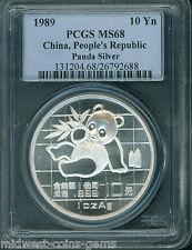 1989 PANDA SILVER COIN 1 Oz. 10Y 10-Yuan 10-Yn CHINA PCGS MS68