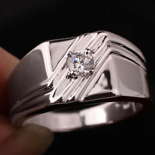 Solid Sterling Silver Ring Jewelry for Men Elegant Design 4.0mm Clear CZ Size 12