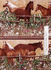 Farm Fabric - Brown Horse Bird & Field Stripe - Timeless Treasures Cotton YARD