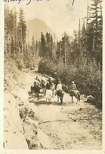 c1920 RPPC Postcard; Horseback Sightseers, Road to Paradise, Mt. Rainier Natl Pk