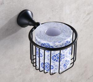 Oil Rubbed Brass Bathroom Round Shape Toilet Paper Roll Basket Holder 2ba855