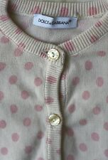 DOLCE AND GABBANA BABY PALE PINK SPOTTED CARDIGAN 3 MONTHS