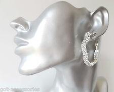 STUNNING 4cm small silver tone & wavy diamante - crystal hoop earrings  #050