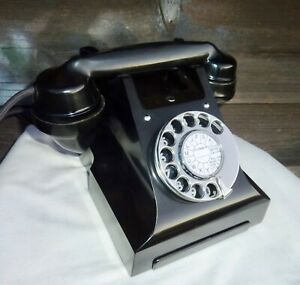 """Vintage Black  Bakelite """"300"""" series phone. Fully working.C1940/50."""